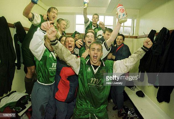 The Yeovil team celebrate beating Blackpool in the FA Cup 2nd Round match between Blackpool and Yeovil at Bloomfield Road Blackpool Mandatory Credit...