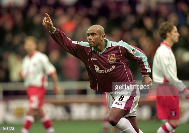 Trevor Sinclair celebrates his goal for West Ham during the FA Carling Premier League match against Charlton played at Upton Park in London West Ham...