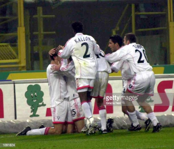 Vicenza players gather to celebrate scoring a goal during the Serie A 9th Round League match between Bologna and Vicenza played at the Dallara...