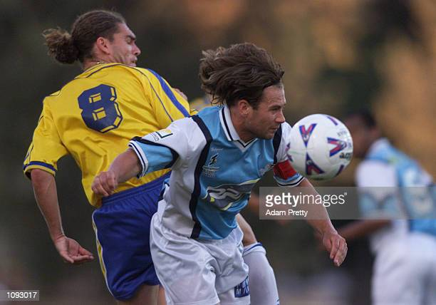 Walter Ardone of Parramatta Power contests the ball with Clayton Bell of Eastern Pride during the Parramtta Power NSL Match vs Eastern Pride at...
