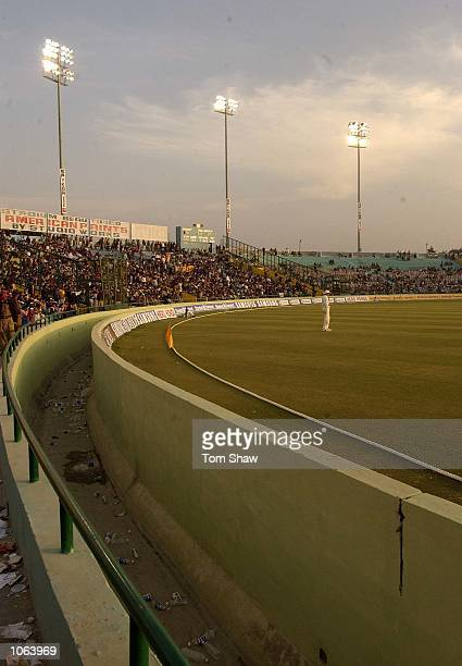 A general view of the moat and the stadium lights in use during a test match during the second day of the First Test Match between India and England...