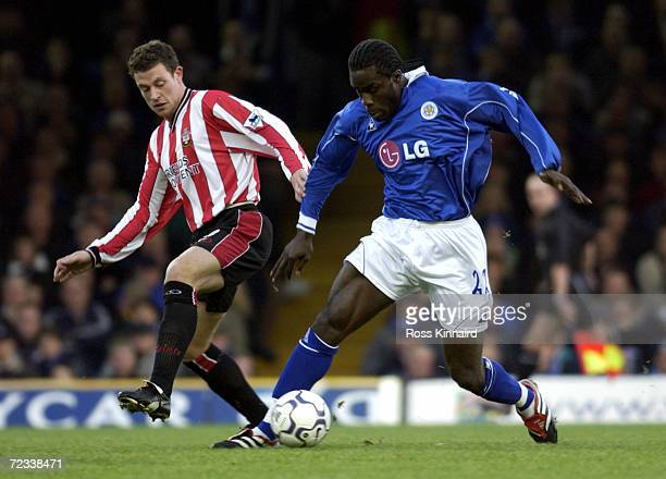 Ade Akinbiyi of Leicester gets past Wayne Bridge of Southampton during the match between Leicester City and Southampton in the FA Barclaycard...