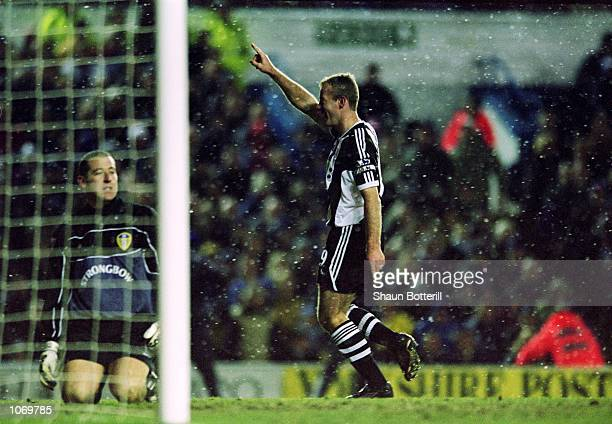 Alan Shearer of Newcastle United celebrates scoring from the penalty spot during the FA Barclaycard Premiership match against Leeds United played at...