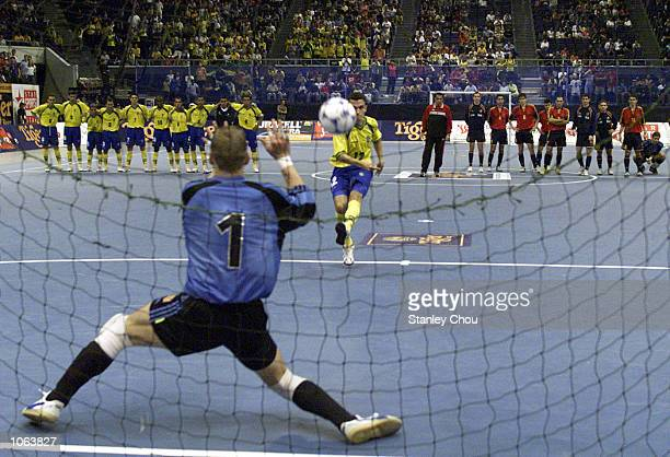 Alessandro Rosa Viera of Brazil penalty attempt is saved by Luis Amado of Spain during the penalty shoot out during the Cup final between Brazil and...
