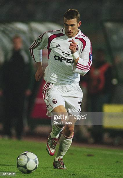 Andrei Shevchenko of AC Milan in action during the UEFA Cup 3rd round 2nd leg match against Sporting Lisbon at the Jose Alvalade Stadium in Lisbon...