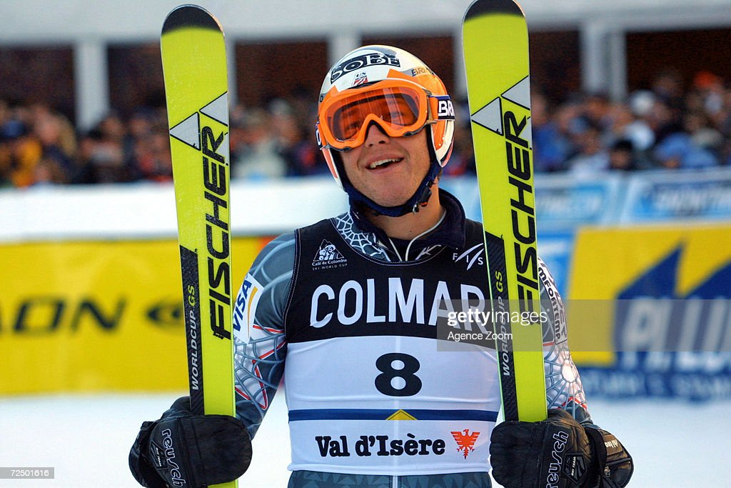 Bode Miller of the USA smiles en route to winning the Men's Giant Slalom of the 2001-2002 FIS Ski World Cup in Val D''Isere, France. DIGITAL IMAGE. Mandatory Credit: Agence Zoom/Getty Images