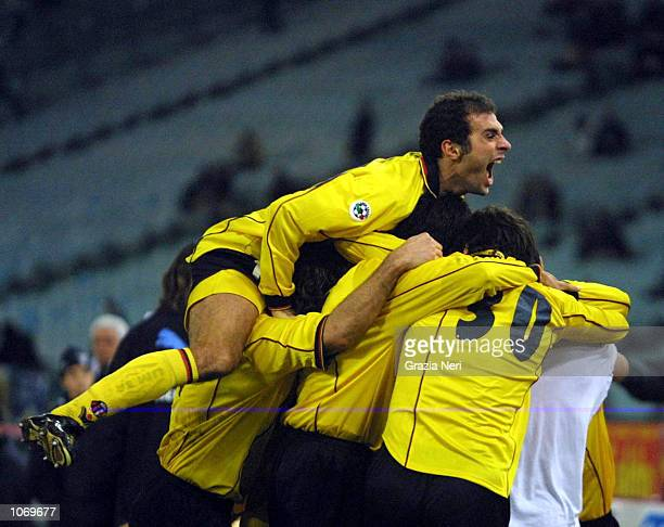 Bologna players celebrates the equalizing goal of Cristian Zaccardi during the Serie A 16th Round League match between Lazio and Bologna played at...