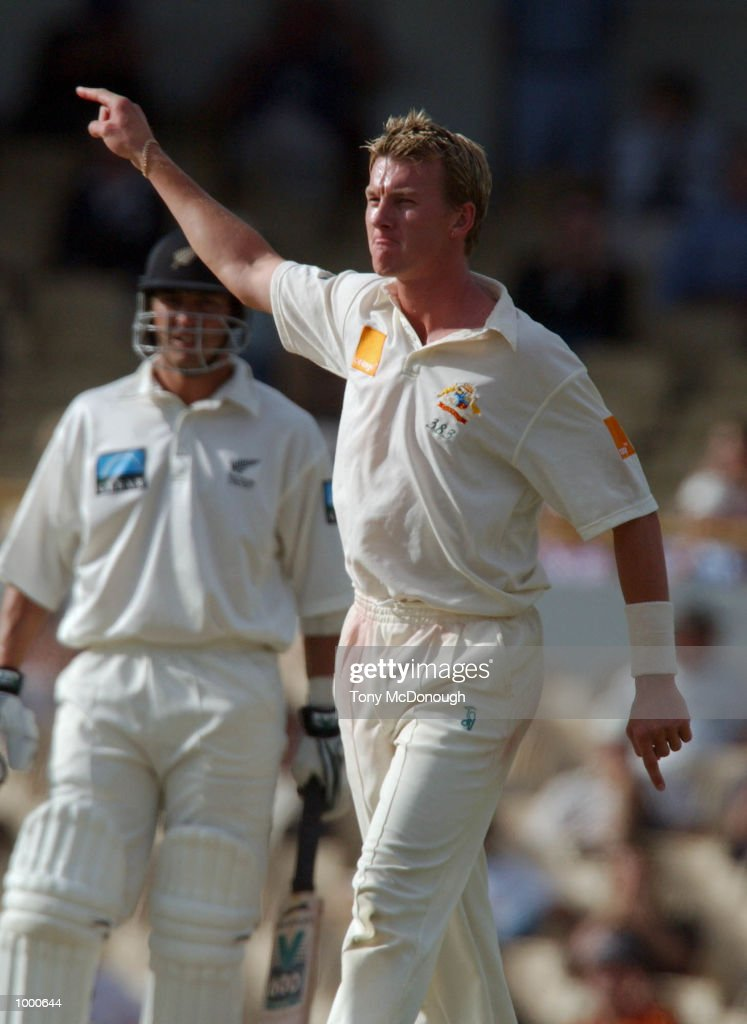 Brett Lee leaves Shane Bond in no doubt as to where to go after claiming his wicket during day 4 of the third Orange Test being played at the WACA ground Perth, Australia. DIGITAL IMAGE Mandatory Credit: Tony McDonough/ALLSPORT MandatoryCredit: Tony McDonough/ALLSPORT