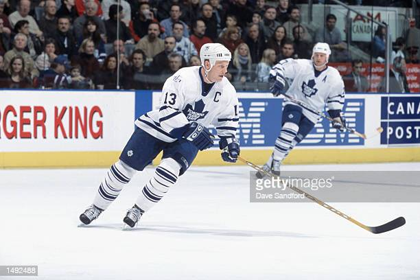 Center Mats Sundin of the Toronto Maple Leafs turns towards the play against the Montreal Canadiens during the NHL game at Air Canada Centre in...