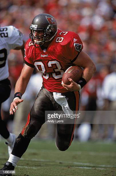 Dave Moore of the Tampa Bay Buccaneers carries the ball up the field during the game against the New Orleans Saints at Raymond James Stadium in Tampa...