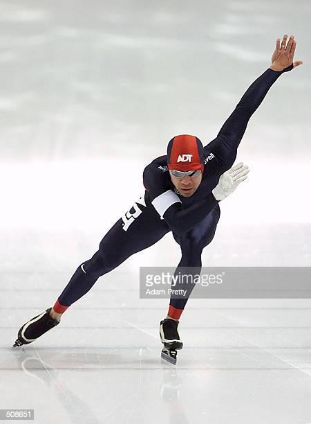 Derek Parra in action during the 500 meter qualifying race for the US Speed Skating Olympic Team of the 2002 Salt Lake City Olympic Winter Games at...