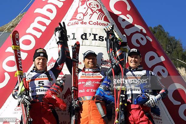 Didier Cuche of Switzerland Silvano Beltrametti of Switzerland Stefan Eberharter of Austria in action during the 20012002 FIS Alpine Ski World Cup...
