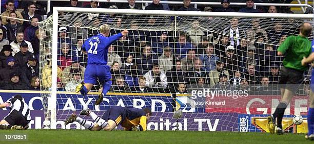 Eidur Gudjohnsen of Chelsea scores his first goal during the FA Barclaycard Premiership match between Newcastle United and Chelsea at St James's Park...
