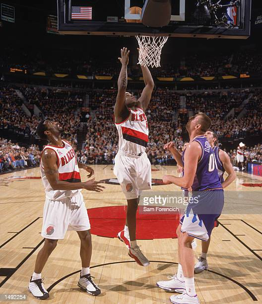 Forward Zach Randolph of the Portland Trail Blazers goes for a rebound during the NBA game against the Utah Jazz at the Rose Garden in Portland...