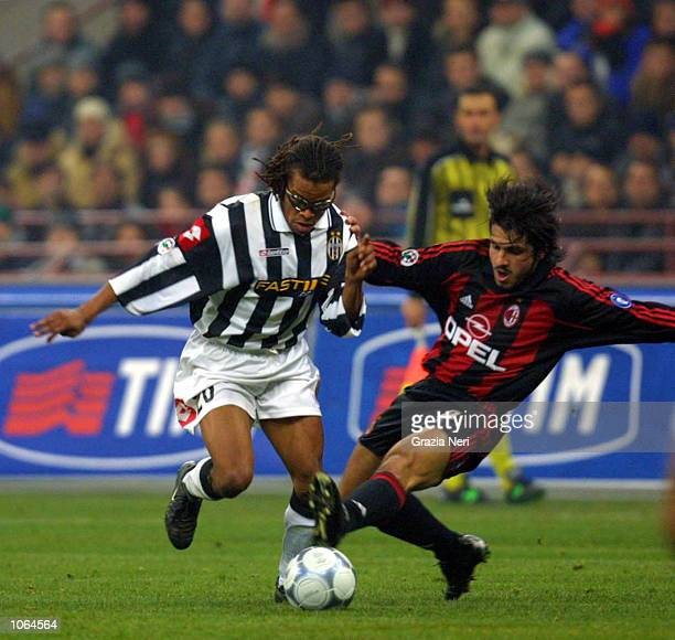 Gattuso Gennaro of AC Milan and Edgar Davids of Juventus in action during the Serie A 14th Round League match between AC Milan and Juventus played at...