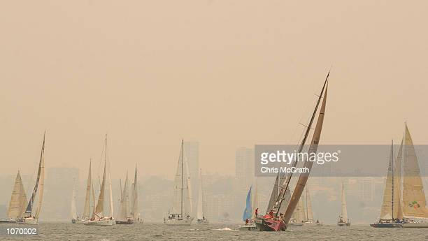 General view as the Sydney to Hobart and the Volvo Round the World Ocean Race competitors jostle for position in Sydney Harbour as the city of Sydney...