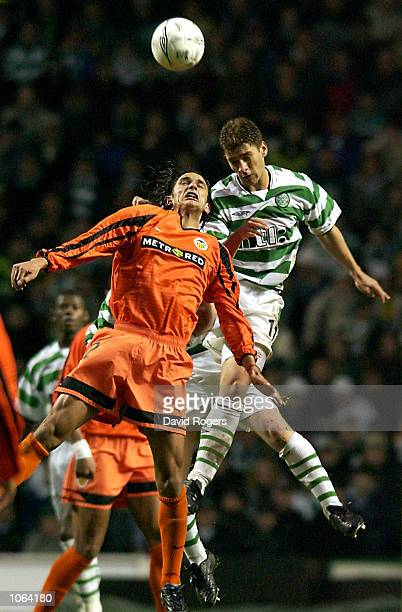 Gonzalo De Los Santos of Valencia is challenged by Stilian Petrov of Celtic during the UEFA Cup third Round second Leg match between Celtic and...