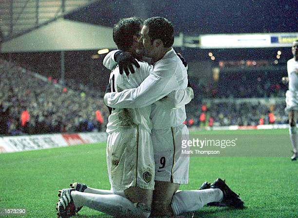 Harry Kewell of Leeds celebrates with Mark Viduka after scoring thr first goal during the Leeds United v Grasshoppers UEFA Cup Third Round Second Leg...