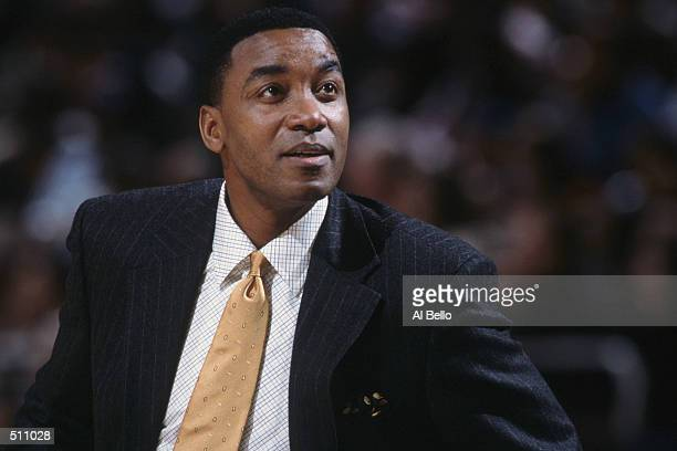 Head coach Isiah Thomas of the Indiana Pacers reacts to the NBA game against the New York Knicks at Madison Square Garden in New York City New York...