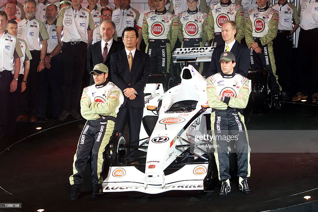 Jacques Villeneuve of Canada and BAR, Olivier Panis of France and BAR and new team chairman David Richards with Mr Toru Ogawa of Honda and Malcolm Oastler, technical director during the launch of the new BAR Formula One Car in Brackley, England. DIGITAL IMAGE. Mandatory Credit: Clive Mason/ALLSPORT