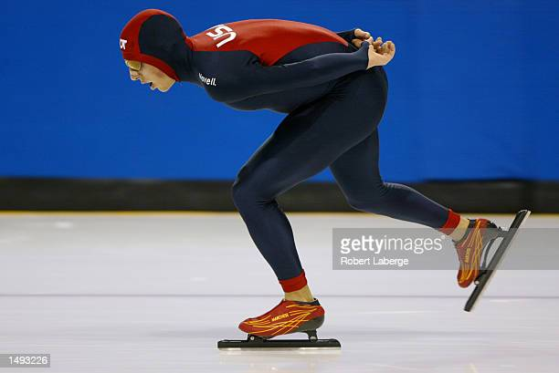 Jason Hedstrand of the USA skates during the men's 10000 meter qualifying race for the US Olympic team at the Utah Olympic Oval in Kearns Utah...