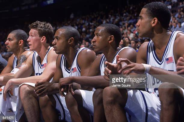 Jason Williams of the Duke Blue Devils sits with the Duke starters during the college basketball game against the Kentucky Wildcats part of the Jimmy...