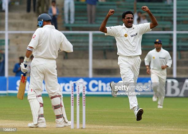 Javagal Shrinath of India celebrates the wicket of Nasser Hussain of England during the opening days play of the final Test Match between India and...