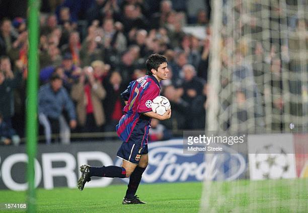 Javier Saviola of Barcelona celebrates scoring a goal during the UEFA Champions League Group B match against Galatasaray played at the Nou Camp in...