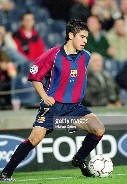Javier Saviola of Barcelona on the ball during the UEFA Champions League 2nd Stage Group B match between Barcelona and Galatasaray at the Nou Camp in...