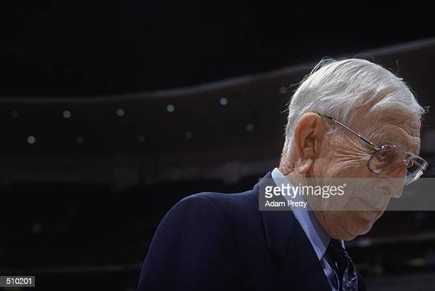 John R. Wooden walks off the court after the championship game of the Wooden Classic tournament between the UCLA Bruins and the Alabama Crimson Tide...
