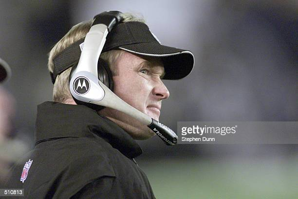 Jon Gruden head coach of the Oakland Raiders watches hs team play the San Diego Chargers during their game at Qualcomm Stadium in San Diego...