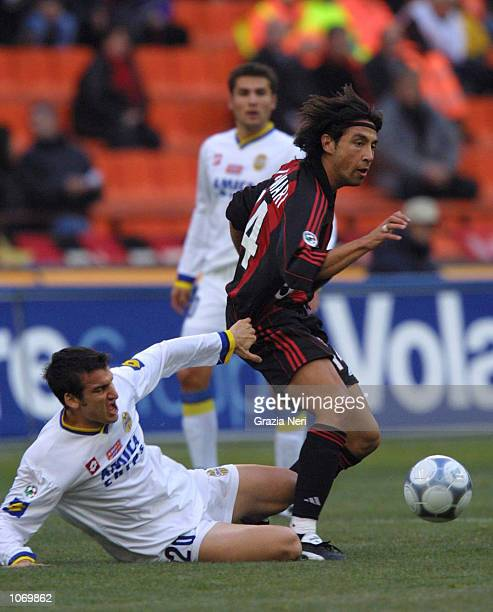 Jose Mari of AC Milan in action during the Serie A 16th Round League match between AC Milan and Verona played at the San Siro Stadium in Milan Italy...