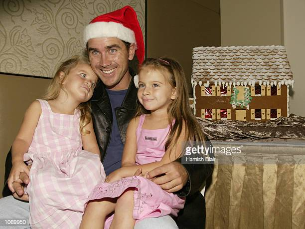 Justin Langer of Australia with daughters Jessica and AliRose at the Australian Team Christmas Lunch at Crown Casino Melbourne Australia DIGITAL...