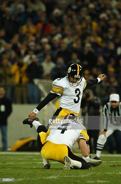 Kris Brown of the Pittsburgh Steelers delivers a pass with punter Josh Miller during the game against the Baltimore Ravens at PSINet Stadium in...