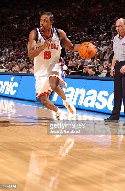 Latrell Sprewell of the New York Knicks drives with the ball during a game against the Boston Celtics at Madison Square Garden in New York NY DIGITAL