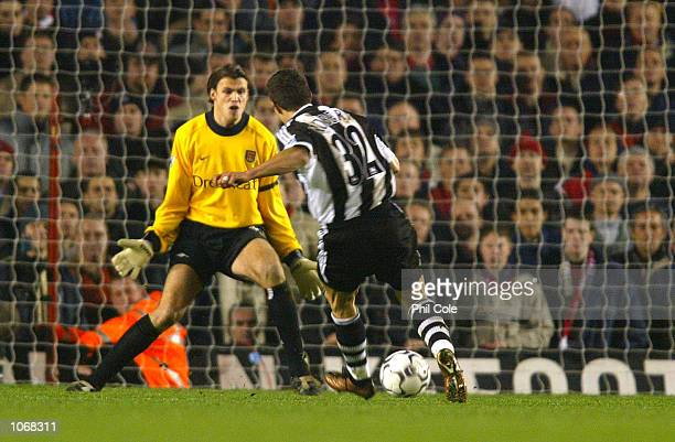Laurent Robert of Newcastle scores the third goal during the FA Barclaycard Premiership match between Arsenal and Newcastle United at Highbury London...
