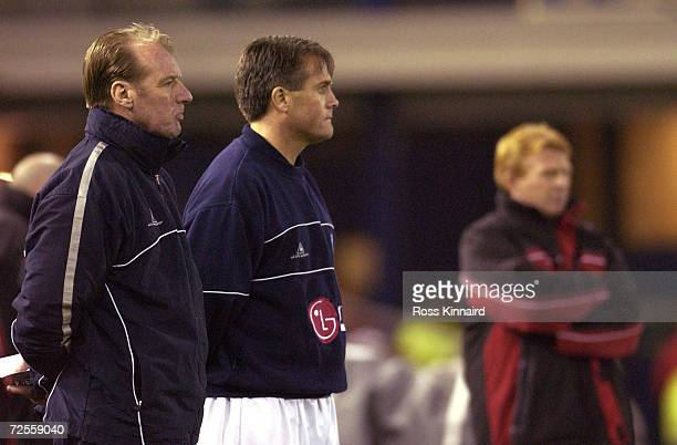 Leicester Manager Dave Bassett and Assistant Manager Micky Adams look on as Southampton score during the match between Leicester City and Southampton...