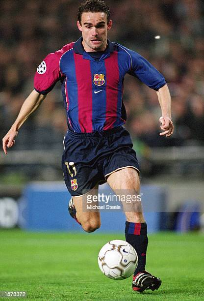 Marc Overmars of Barcelona runs with the ball during the UEFA Champions League Group B match against Galatasaray played at the Nou Camp in Barcelona...