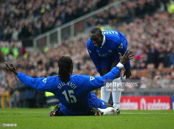 Mario Melchiot of Chelsea celebrates with Jimmy Floyd Hasselbaink after scoring the first goal during the Manchester United v Chelsea FA Barclaycard...
