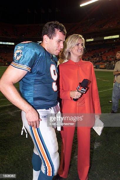 Melissa Stark of ABC's Monday Night Football prepares to interview quaterback Jay Fiedler of the Miami Dolphins after the game against the...