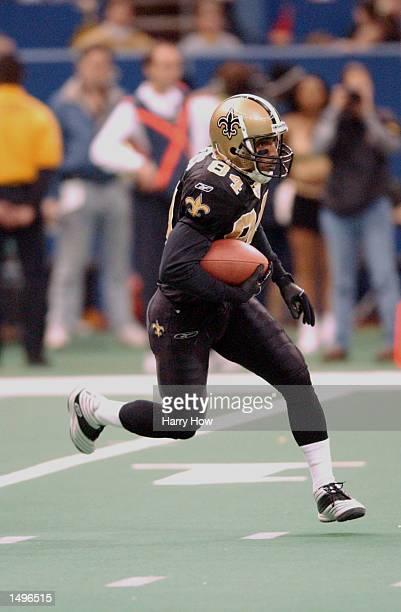 Michael Lewis of the New Orleans Saints rushes downfield against the Washington Redskins during the game at the Superdome in New Orleans Louisiana...