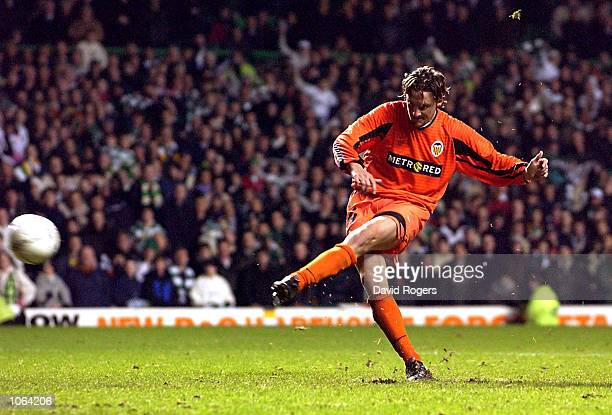 Miguel Angel Mista Ferrer of Valencia strikes the winning sudden death penaly to win the UEFA Cup third Round second Leg match between Celtic and...