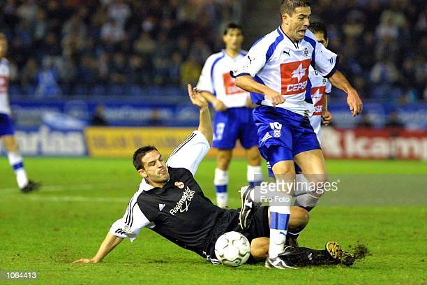Morientes of Real Madrid and Bermudo of Tenerife in action during the Spanish Primera Liga match played between Tenerife and Real Madrid at the...