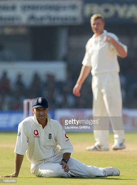 Nasser Hussain of England fails to stop a boundary off the bowling of Andrew Flintoff during the fifth day of the 2nd Test between England and India...