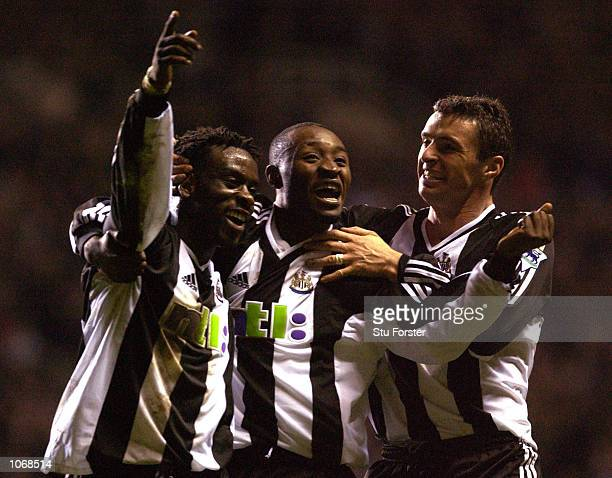 Olivier Bernard Lua Lua and Gary Speed celebrate Bernard's goal during the Barclaycard Premiership match between Newcastle United and Blackburn...