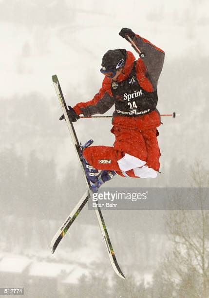 PierreAlexandre Rousseau takes flight during the mens'' dual moguls at the Sprint US Freestyle Grand National World Cup in Steamboat Colorado He took...