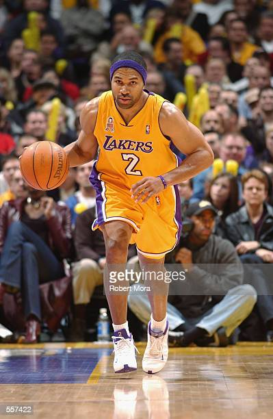 Point guard Derek Fisher of the Los Angeles Lakers dribbles the ball during the NBA game against the Los Angeles Clippers at Staples Center in Los...