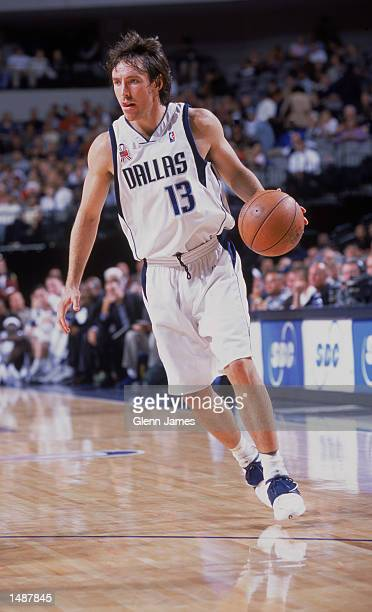 Point guard Steve Nash of the Dallas Mavericks dribbles the ball during the NBA game against the Los Angeles Clippers at the American Airlines Center...