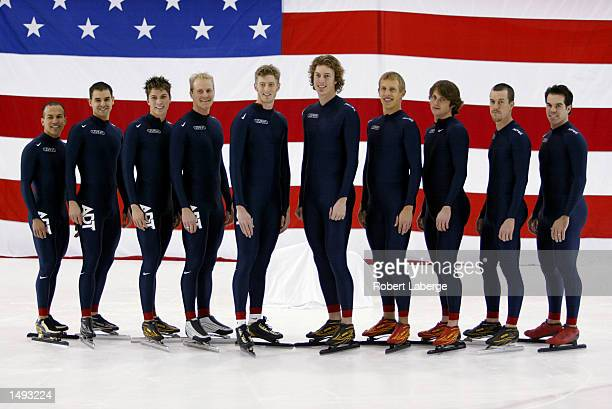 Portrait of the US Men's Speed Skating long track team for the 2002 Salt Lake City Olympic Winter Games at the Utah Olympic Oval in Kearns Utah Left...