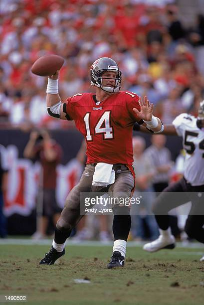 Quarterback Brad Johnson of the Tampa Bay Buccaneers moves to pass the ball during the game against the New Orleans Saints at Raymond James Stadium...